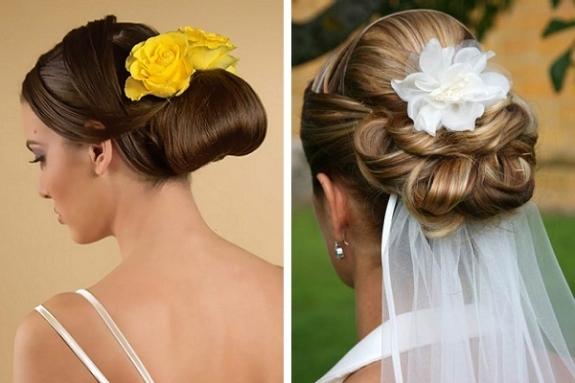Прически на свадьбу на короткие волосы фото с фатой